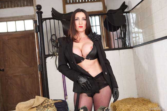 Miss Hybrid knee high boots, jodhpurs and ripped pantyhose pee in the stables.